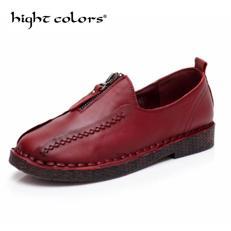 New Women's Casual Shoes Fashion Genuine Leather Woman Loafers Slip On Female Flats Ladies Driving Shoe Solid Mother Shoes whensinger 2017 woman shoes female genuine leather flats slip on summer fashion design f927