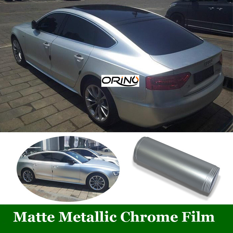 Satin Chrome Silver Vinyl Car Wrap Film Chrome Matte
