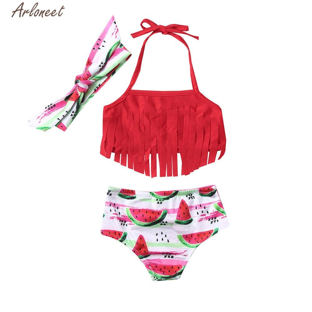 Arloneet Badeanzug Kinder Kinder Mädchen Rot Wassermelone Druck Tops Shorts Stirnband Badeanzug Set 2019 Mädchen Sommer Strand Bademode