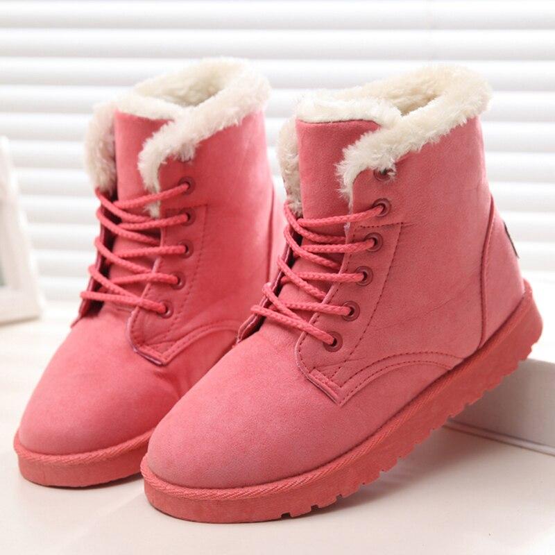 Women Shoes Winter Brand Women Ankle Boots Female Warm Fur Suede Platform Snow Shoes Ladies Fashion Plus Size Black Shoes Woman цена в Москве и Питере