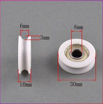 Fixmee 2pc 8*30*10mm U Groove Nylon Flexible Ball Bearing Wheel Roller for Furniture