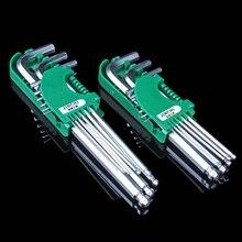 Freeshipping 9pcs L Shaft T10 T8 T6 T5 T4 T3 T2.5 T2 T1.5 Security Torx Hex Key Wrench Screwdriver Set Hand Repair Tool 9pcs set cr v 45mm rubber handle 140mm screwdrivers 0 8 pentalobe 1 5 phillips t3 t4 t5 t6 t7h t8h t10h torx screwdriver set