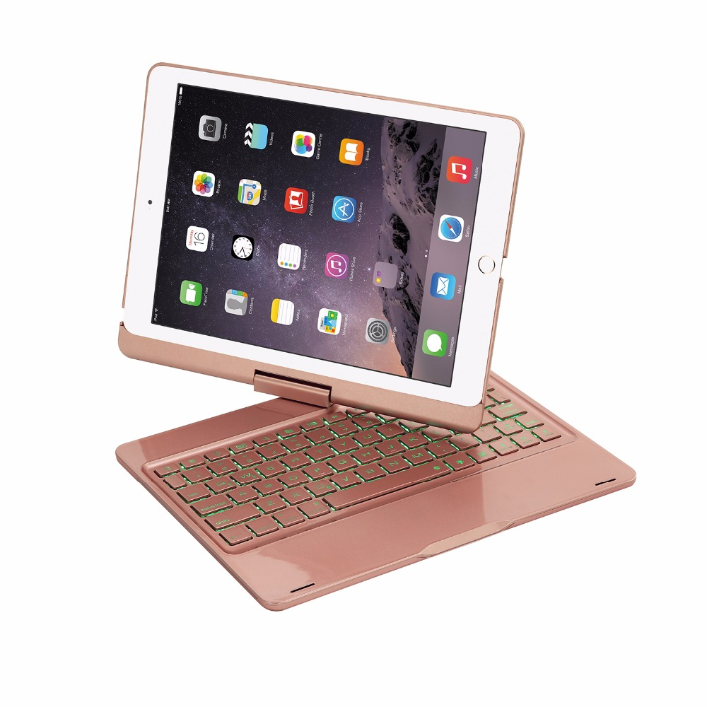 New 2017 for iPad 9.7 7 Colors Backlit Light Wireless Bluetooth Keyboard Case Cover for iPad 5 / 6 / Air / Air 2 / Pro 9.7