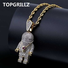 TOPGRILLZ Hip Hop Gold Color Plated Copper Iced Out Micro Pave AAA CZ Astronaut Pendant Necklace For Men Trendy Jewelry