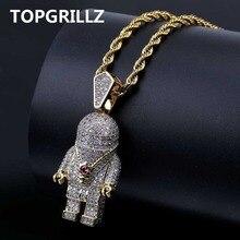 TOPGRILLZ Hip Hop złoty kolor galwanicznie miedzi Iced Out mikro Pave AAA CZ astronauta wisiorek naszyjnik dla mężczyzn Trendy biżuteria
