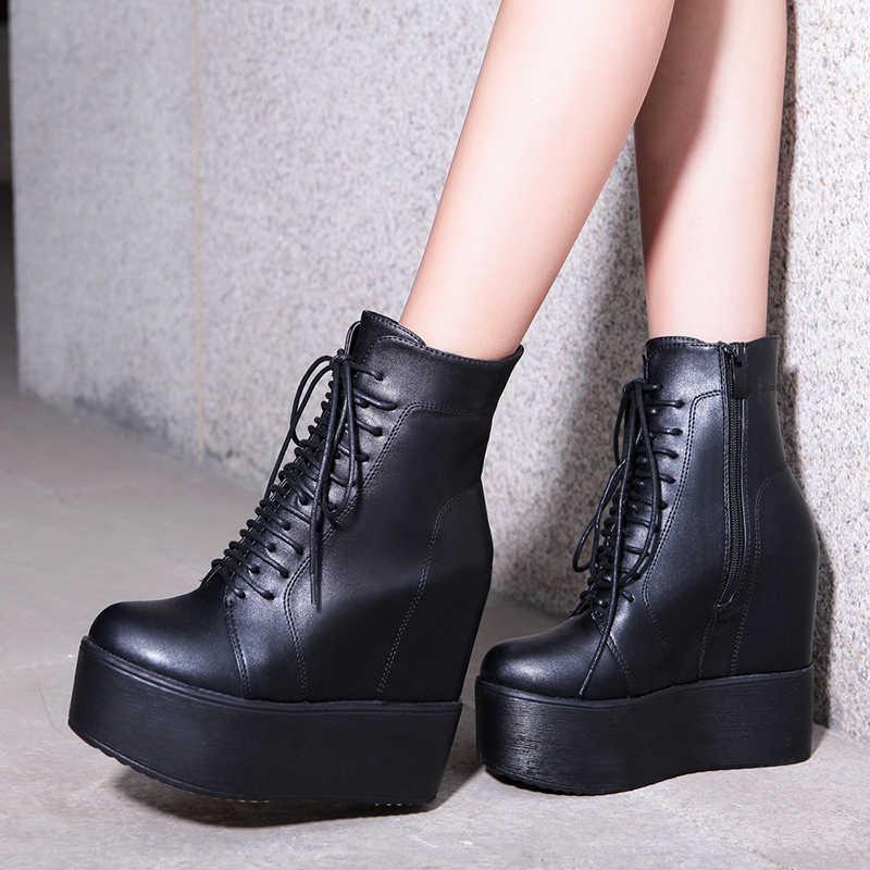 Prova perfetto 2019 Takozlar yarım çizmeler Beyaz Siyah Kauçuk Taban Ayakkabı Platformu Çizmeler Kadın Bağlama Platform Topuklu Ayakkabı Topuk 13 cm