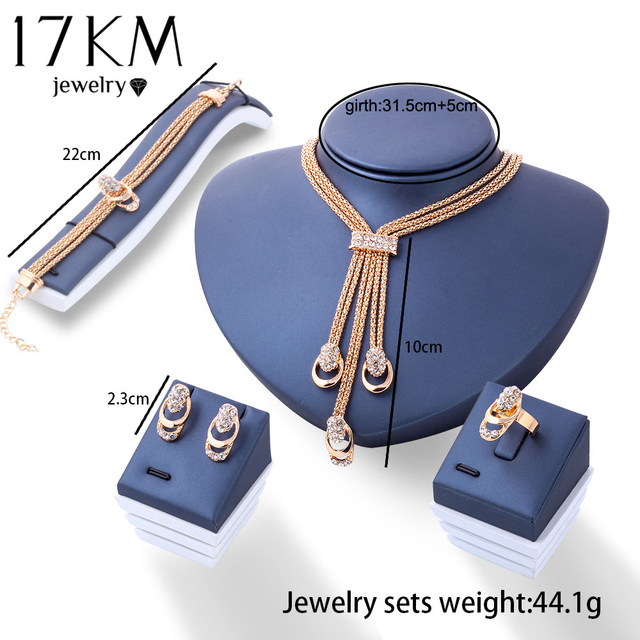 17KM Rose Gold Color Crystal Necklace Earring Bracelet Ring Set Rhinestone New Simple Party Dress Jewelry Sets For Women 1