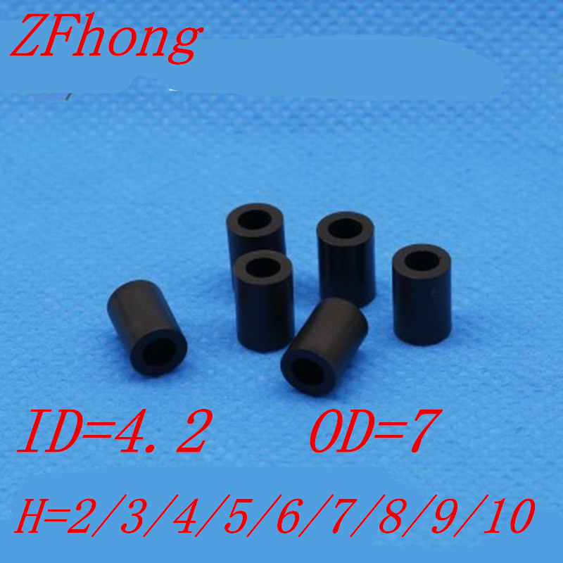 1000pcs/lot m4 black ABS Nylon Round Spacer / Round Standoff spacer M4*L Length(L)=2~10mm ID=4.2 OD=7 universal nylon cell phone holster blue black size l