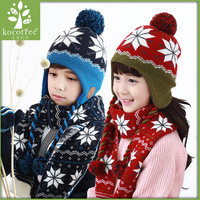 New 2Pcs Set Child Winter Thicken Keep Warm Acrylic Hats And Scarf Baby Cartoon Knitted Cap