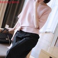 Women Summer T shirt Large Size Loose Thin Section Five point Sleeve Knit Head T shirt Cool Fashion Korean Women's Shirt T shirt