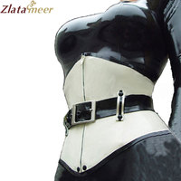 Latex Corset For Women White Rubber Body Shaper With Belt Rubber Underbust Waist Cincher Bustier Customize Service LCC007