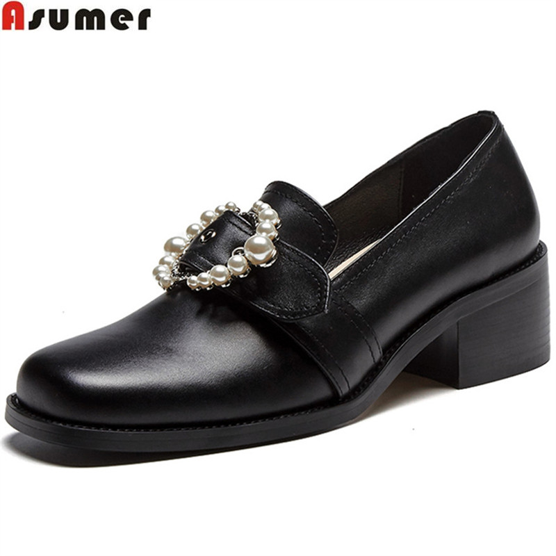 ASUMER black pink fashion spring autumn shoes woman square toe shallow square heel women high heels genuine leather shoes цена