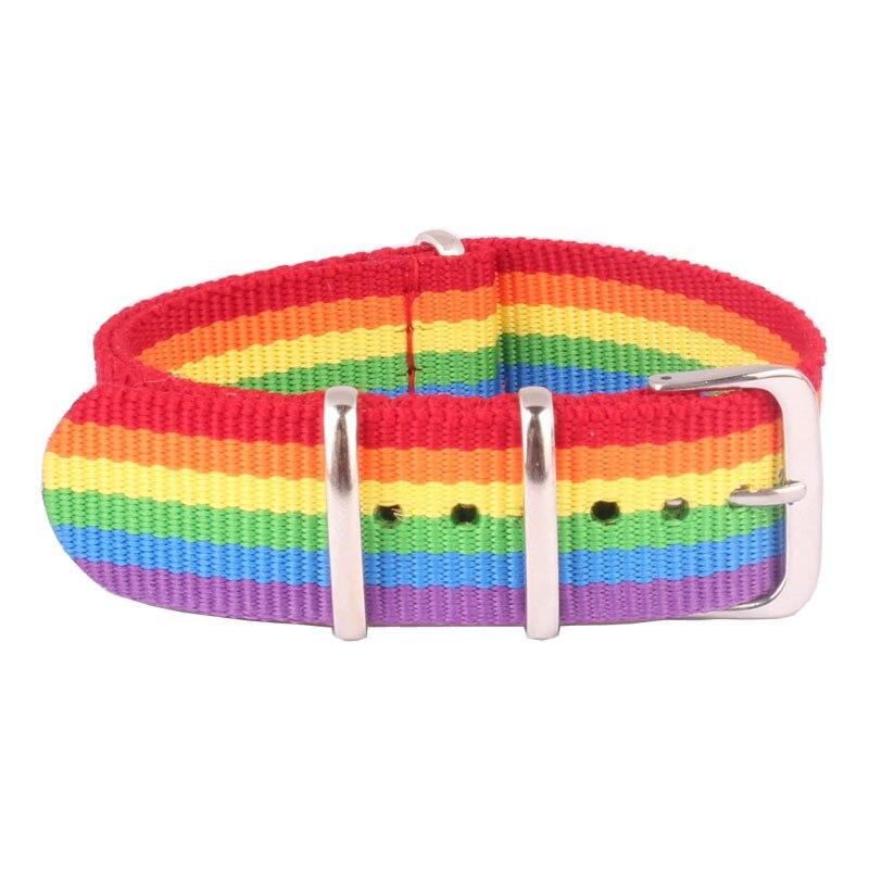 New 18 20 22 24 Mm Cambo Rainbow Nato Woven Fiber Watchband 20mm Nylon Watch Bracelet Strap Wristwatch Band Buckle Canvas Fabric