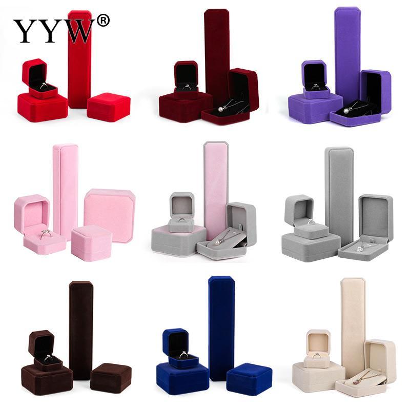 קטיפה משובחת אופנה תכשיטים להגדיר תיבת תצוגת מארזי קופסות מתנת שרשרת תליון טבעת אצבע צמיד אדום קופסות אריזת תכשיטים