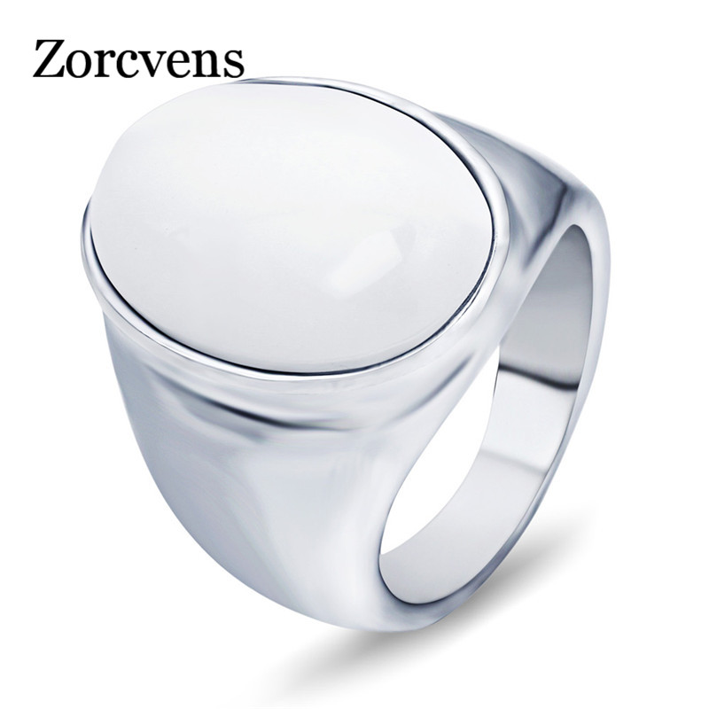 Zorcvens Top Fashion Stainless Steel Pretty White/red Brown Opal Rings For Men Oval Shape Charm Ladies Stone Jewelry Soft And Light Jewelry & Accessories