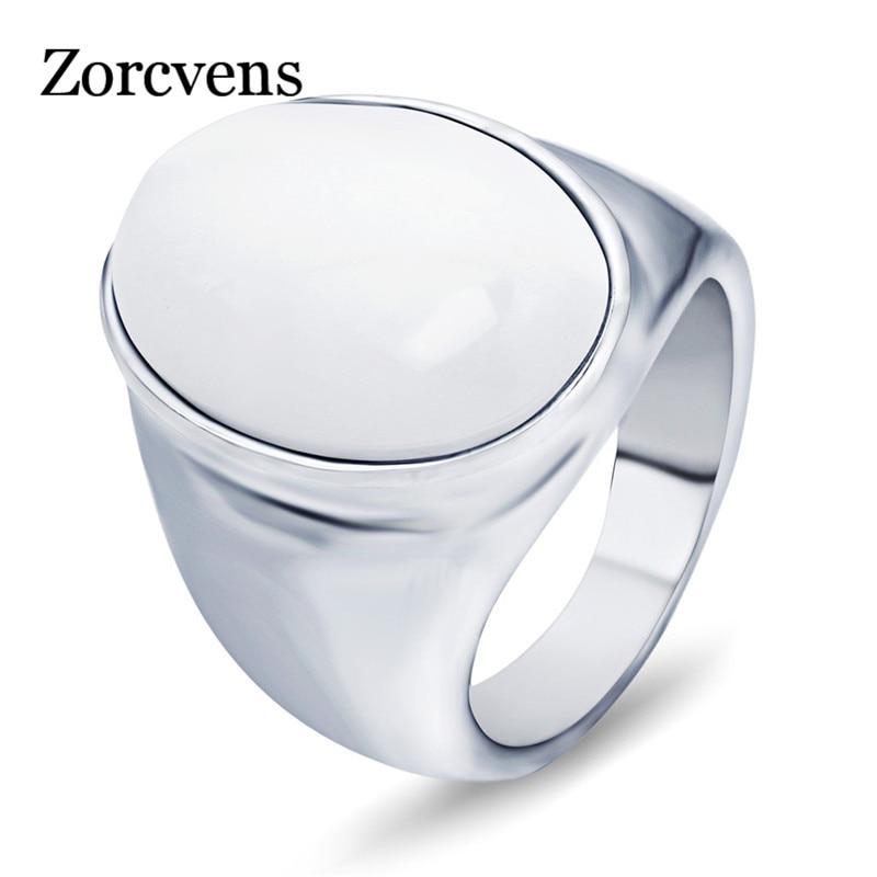 Мужские кольца из нержавеющей стали ZORCVENS, белые/красные/коричневые кольца с опаловым покрытием овальной формы, женские Украшения из камня|opal ring|ring forrings for men | АлиЭкспресс