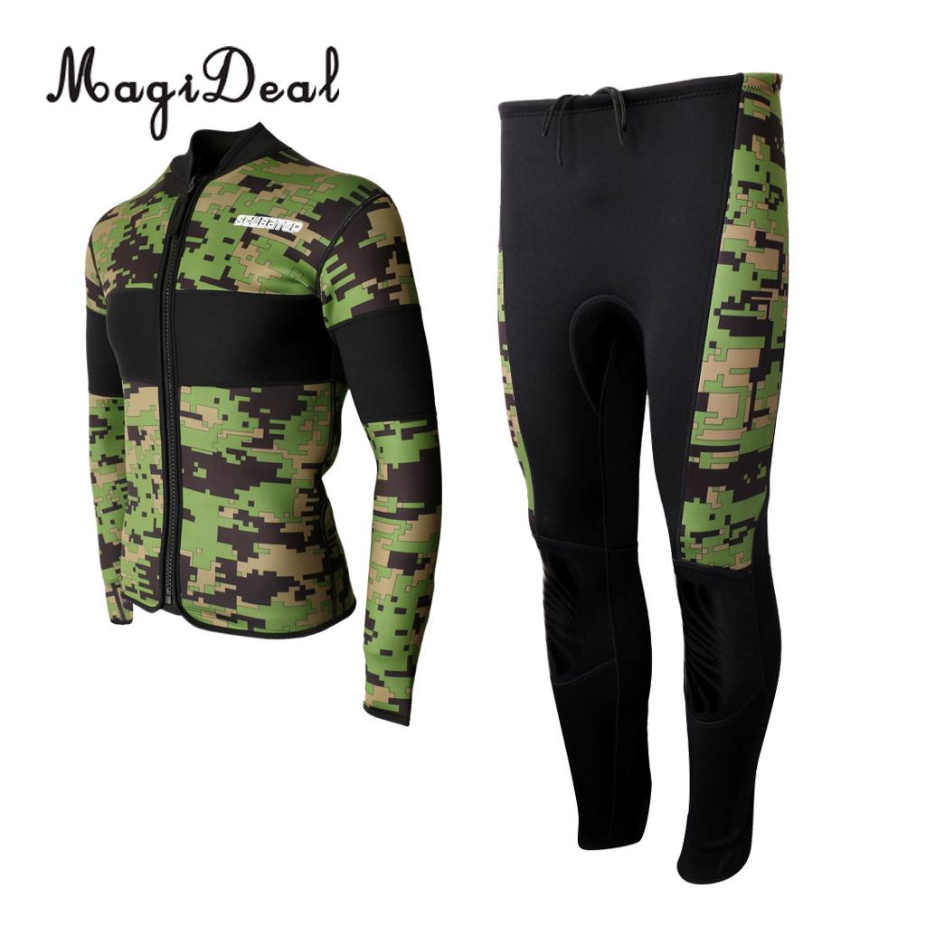 MagiDeal 2.5mm Neoprene Men Women Scuba Diving 2 Pieces Warm Wetsuit Top & Pants for Swimming Surfing Spearfishing Water Sports