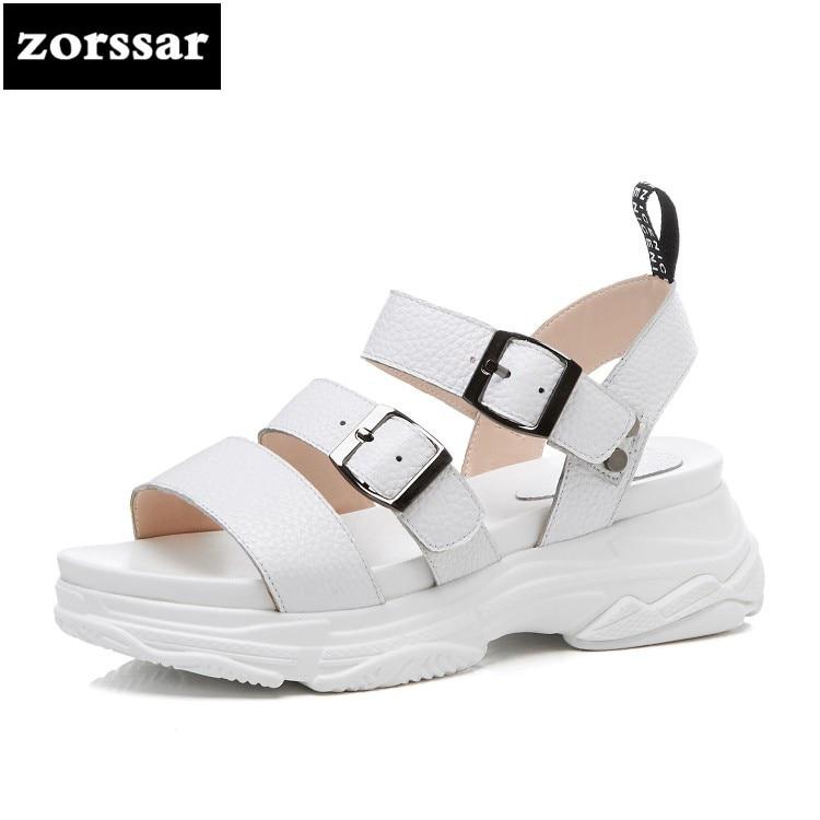 {Zorssar} Véritable En Cuir Femmes Sandales Appartements casual chaussures 2018 plat talon Sport sandales à bout Ouvert chaussures de plage d'été femmes chaussures