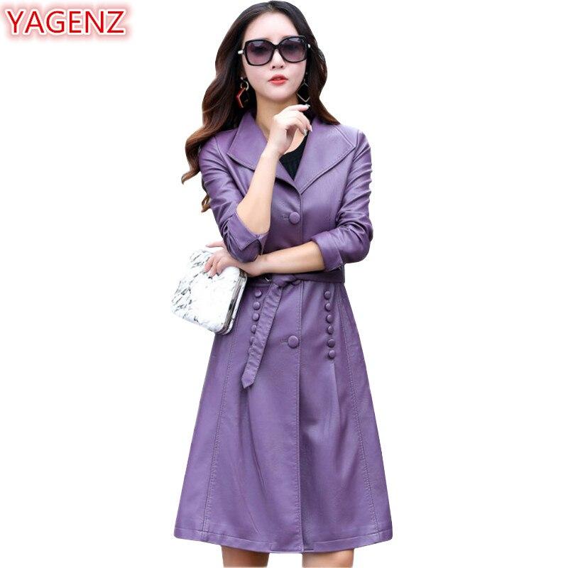 597 Yagenz De Femmes Grande Purple Pour En Taro Automne Qualité black Noir Vêtements Coupe Haute Printemps Manteau Cuir Section Veste Taille vent gray Longue rqHdr