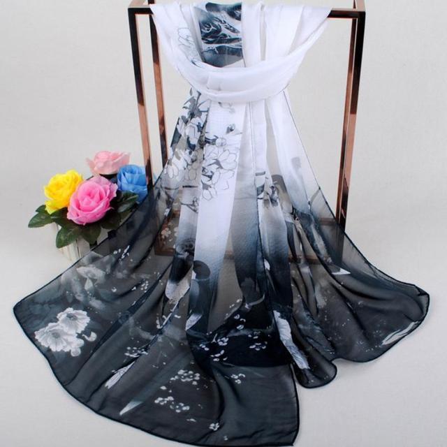 De las mujeres de la moda bufandas suave envuelve impreso gasa suave chal bufanda transpirable gasa bufandas exquisito chales elástico abrigo