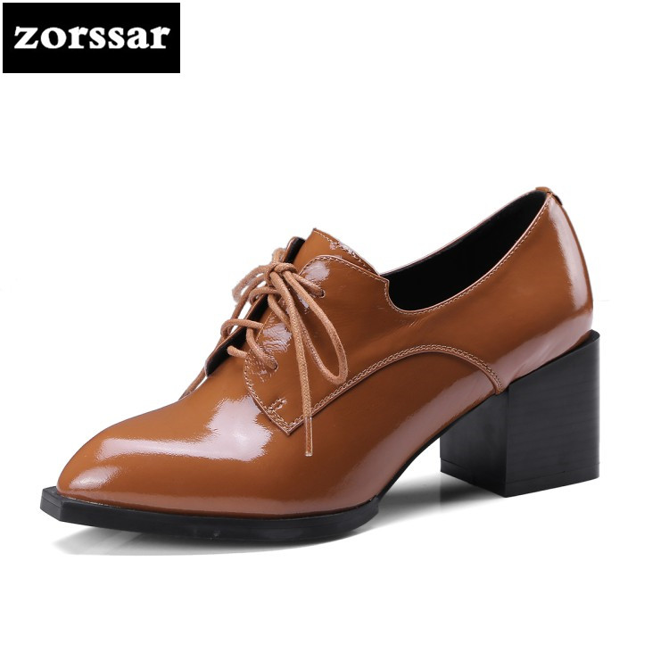 {Zorssar}2018 NEW fashion Casual Square heel Lace up Pointed toe womens shoes pumps High heels ladies dress shoes big size 33-42 plus size 34 46 fashion high heels shoes women pumps square heel pointed toe dress pumps shallow party stilettos ladies footwear