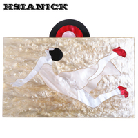 woman wearing red high heels pattern design high grade classic retro art acrylic box handbag lady party prom evening bag clutch