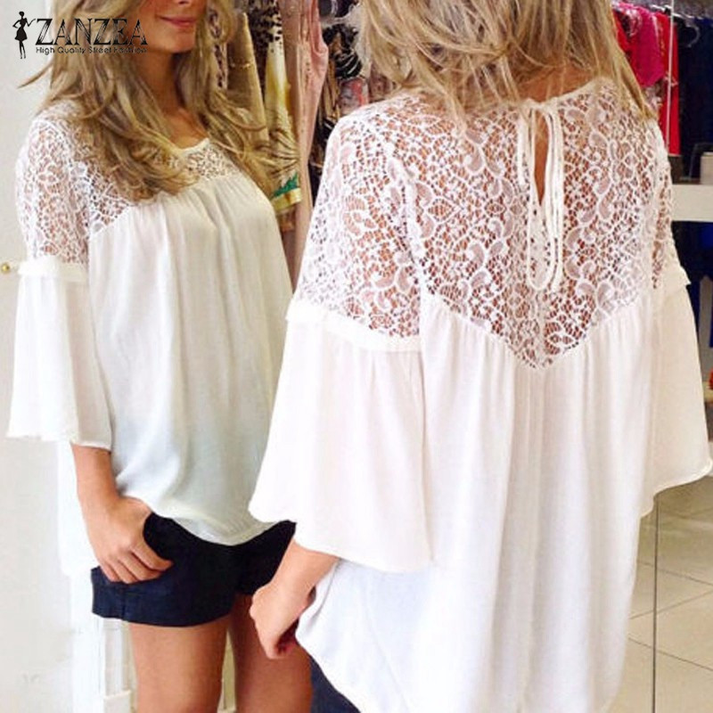 ZANZEA Women Shirts 2020 Summer Style Blusas Chiffon Patchwork Lace Solid Shirt Casual Loose White Blouses Tops Plus Size
