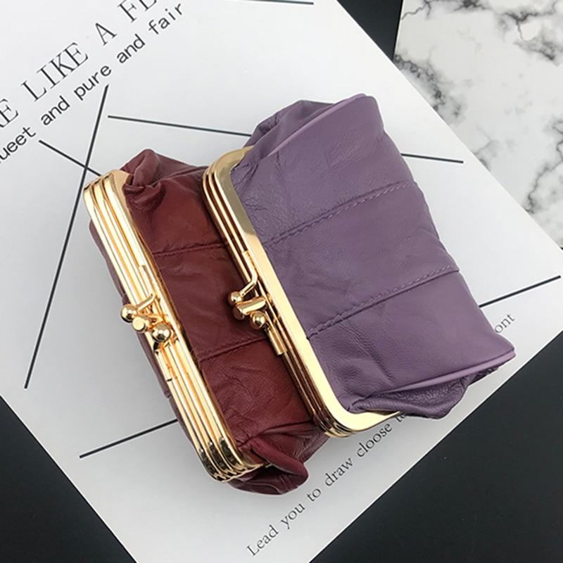 BELLO TUTTI Women Genuine Leather Coin Purse Sheepskin Metal Frame Female Small Wallet Girls Change Handbag Card Holder Mini Bag