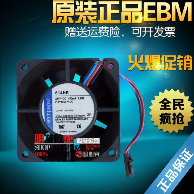 24VDC 150MA 3.8 W 614HR originais 60*60*25mm ventilador de fluxo axial