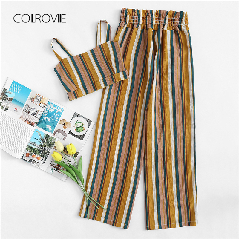 COLROVIE Striped Vacation Women Set 2018 New Color Block Casual Summer Spaghetti Strap Two Piece Set Wide Leg Clothing Set