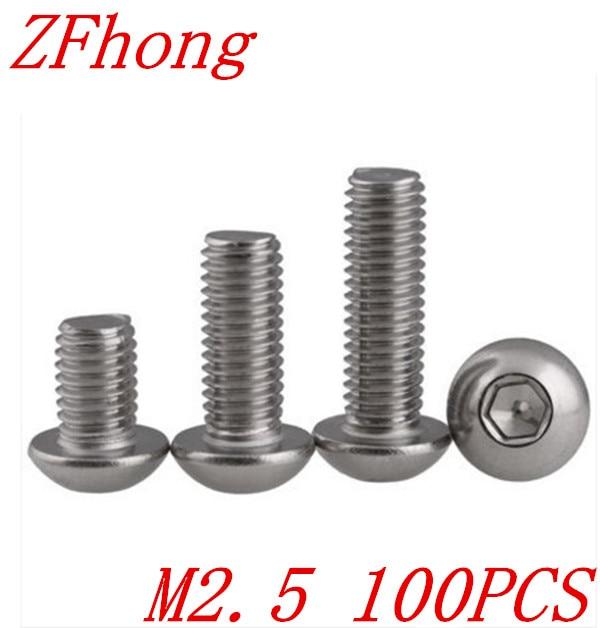 100 PCS ISO7380 M2.5 * 3/4/5/6/8/10/12/14/16/18/20/22/25/28/30/35/40 Inoxidável 2.mm aço Hexagon Botão Soquete Parafuso de Cabeça