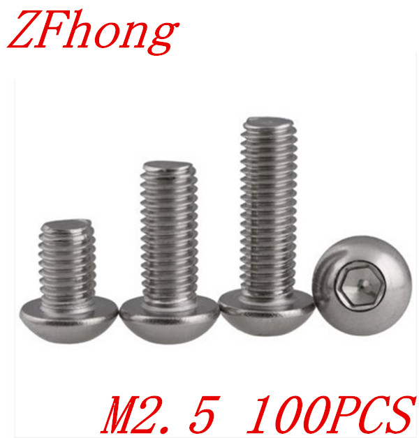 100PCS ISO7380 M2.5*3/4/5/6/8/10/12/14/16/18/20/22/25/28/30/35/40  2.mm Stainless Steel Hexagon Socket Button Head Screw 50pcs iso7380 m3 5 6 8 10 12 14 16 18 20 25 3mm stainless steel hexagon socket button head screw