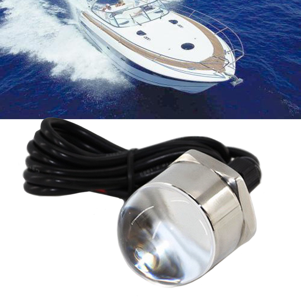 JEAZEA Blue 12V Stainless Steel Underwater Fishing Light Lamp Boat Light Night Water Landscape Lightsfor Marine Boat Accessories