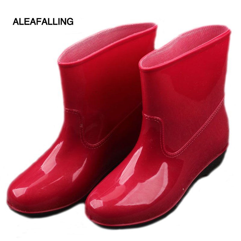 Aleafalling 2018 New Arrival Women Rain Boots Water-proof Women Shoes Mid-calf Rain Boots Low Heels Short Waterproof Rain Boots clouds without rain