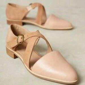 Image 2 - MCCKLE נשים מחודדות רצועת צלב הבוהן מחודדת אבזם נקבה נעליים מוצקות מזדמנים נעליים נעלי גבירותיי רטרו נוחות