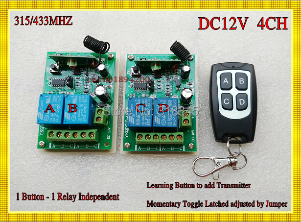 12V 4CH Remote Control Switch 2 Relay  Receiver Transmitter 4 Button LED Lamp Lighting Door Access Button Remote Switc 315/433 2pcs receiver transmitters with 2 dual button remote control wireless remote control switch led light lamp remote on off system