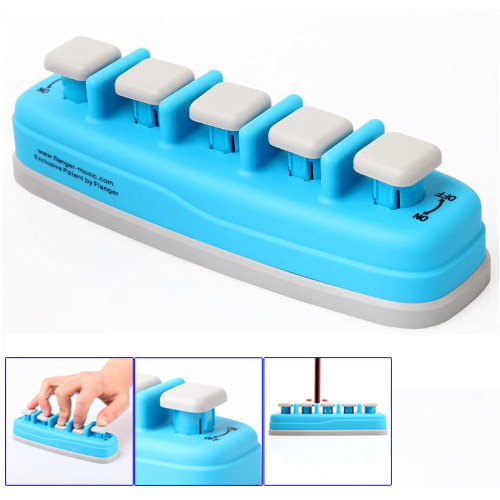 HOT 8X Piano Electronic keyboard Hand Finger Exerciser Tension Training Trainer, Blue mini strength finger exerciser kids child mini finger exerciser guitar bass piano beginner trainer fa 12 guitar accessories