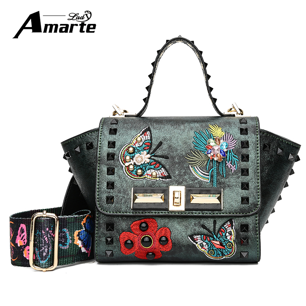 Crossbody Bags for Women Rivet Flower Messenger Bags Vintage PU Leather Handbags Female Famous Brand Colorful Strap Shoulder Ba