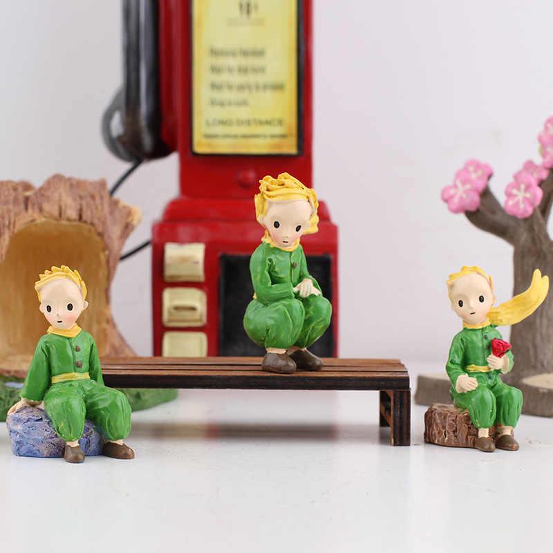 Mini figuras de resina principito de escritorio artesanía ornamental de pie de hadas de dibujos animados modelo figuras miniaturas decoración del hogar 1 pieza