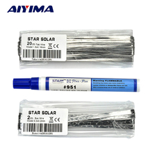 AIYIMA DIY Solar Panel Solar Cell Welding Wire Strip 20m 1.8*0.16mm Weld Strip+2m 5*0.2mm Welding Strip+1pcs 951 Help Weld Pen