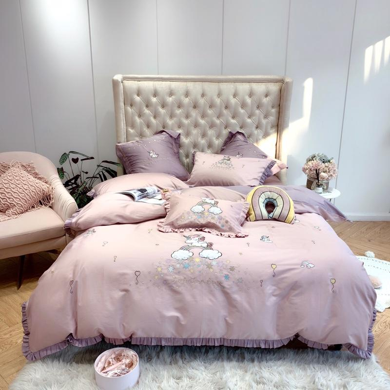 Luxury Egypt Cotton Rainbow Lovely Unicorn Bedding Set Embroidery Ruffles Duvet Cover Sets Bed Sheet Queen