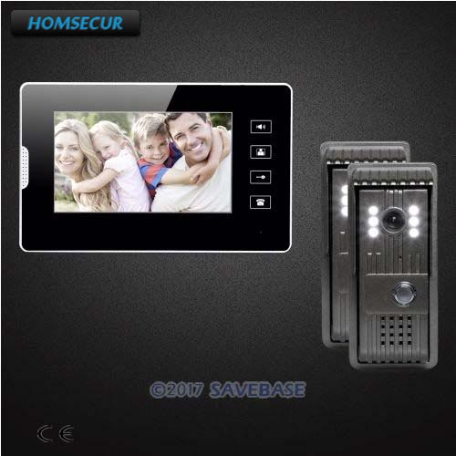 HOMSECUR 2V1 7 Wired Video Door Entry Call System with One Button Unlock for Home Security homsecur 7 wired video door entry call system with one button unlock for home security