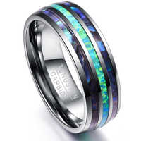Somen 8mm Luxury Silver Tungsten Carbide Ring Blue Fire Opal & Shell Inlay For Men Women Wedding Engagement Ring Bague Homme