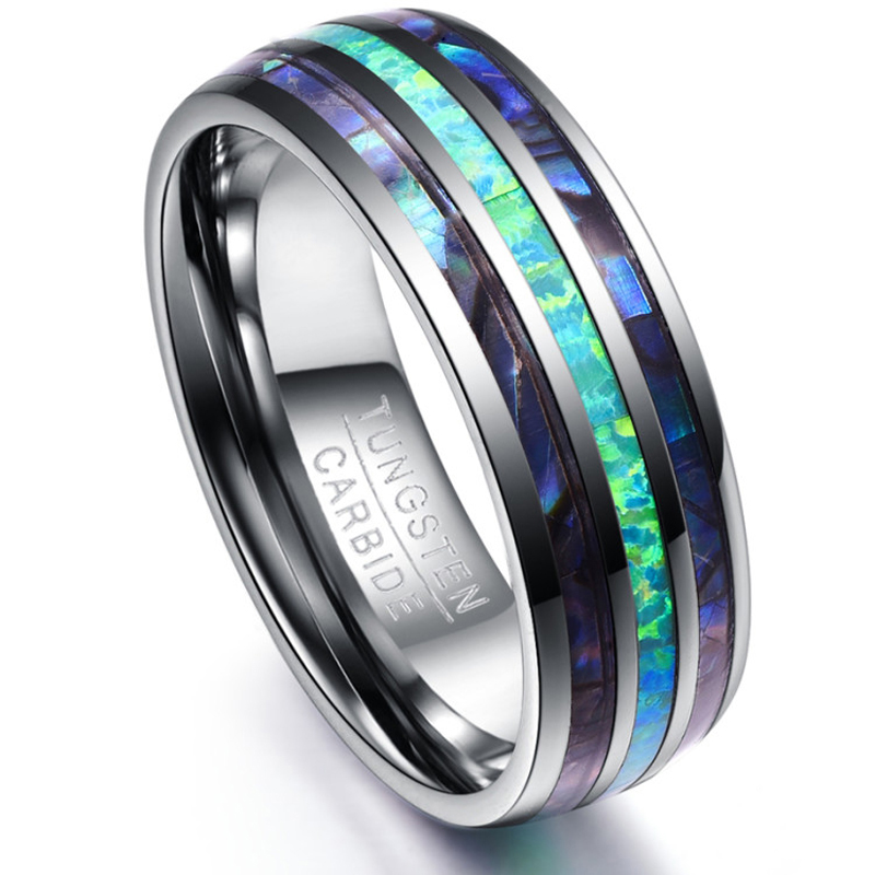 Bishilin 8mm Mens Stainless Steel Wedding Bands Tungsten Matte Silver Blue Wedding Rings Size:10