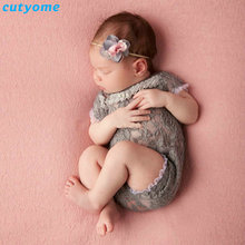 Cutyome Newborn Baby Lace Rompers Baby Photography Props Playsuit Infant Princess Short Sleeve Jumpsuits Baby Girls Overalls