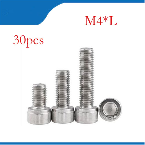 30PCS M4*6/8/10/12/16/20/25/30 DIN912 m4 stainless steel hex hexagon socket cap head screw M4 bolts,M4 nails m4 m4 10 m4x10 m4 16 m4x16 316 stainless steel 316ss din916 inner hex hexagon socket allen head grub cup point set screw