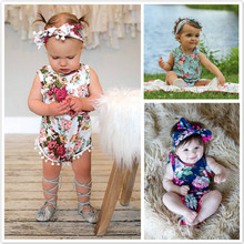 Floral Newborn Infant Baby Girls Rompers Jumpsuit Sunsuit Printed Tassel Clothes One-Pieces Romper 0-24M