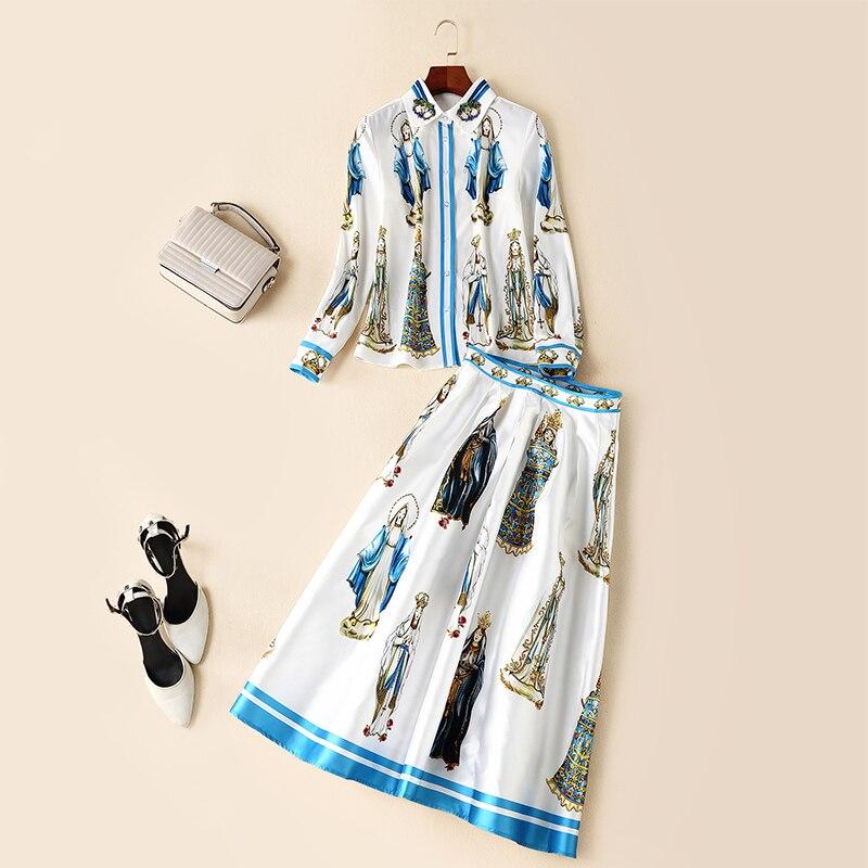 Cordón Moda Multiple Caracteres Traje De Vintage Piezas Lvydala Impresión abajo Las Giro Camisa Conjunto Nuevas Collar 2 Mujeres fqpXxf5wT