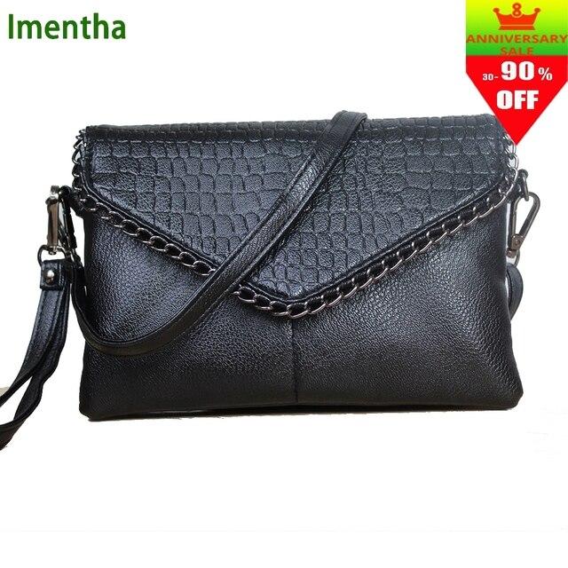 dc31db15ec5 Zwarte Envelop schoudertassen Kleine Vrouwen Messenger Bags vrouwelijke  Zachte Pu Handtassen Crossbody Tas Voor Vrouwen meisjes