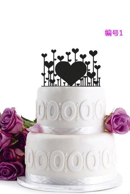 2016 New Design Love Heart Wedding Cake Topper Black Acrylic Cake Topper  Birthday Party Wedding Party